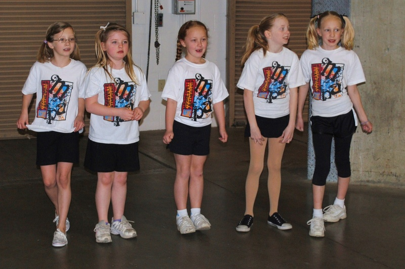 Girls line at warm-up