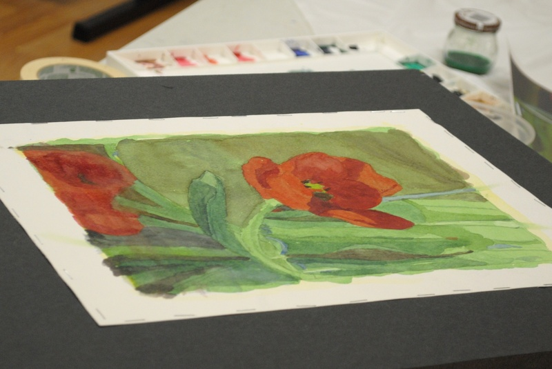 Student Watercolor, Working with Greens week