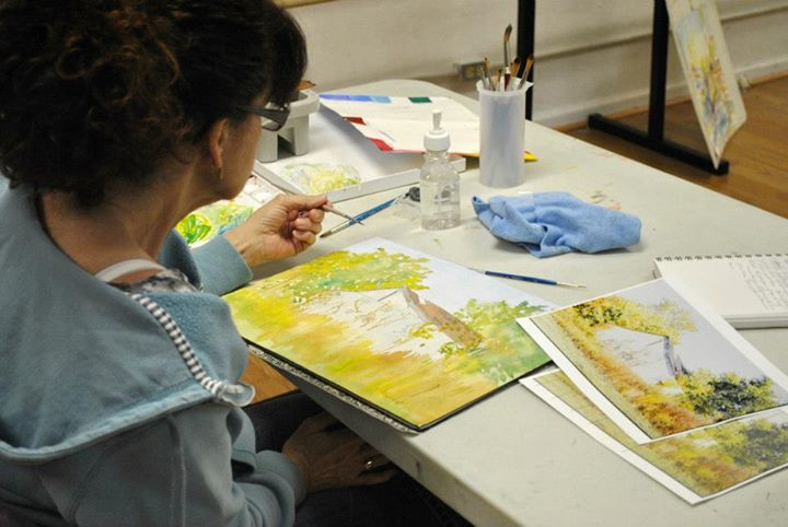 Working on landscapes - Adult Watercolor class